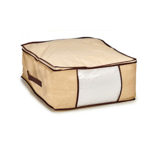Cutie depozitare cu maner si fermoar 45x45x20 cm, Crem