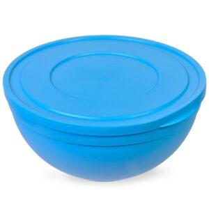 Bol din plastic albastru cu capac