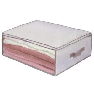 Cutie depozitare cu maner si fermoar 60x45x20 cm, Bej