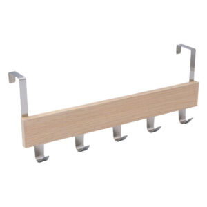 Cuier pentru usa cu 5 agatatori, 38x8.5 cm Metal/MDF Stejar