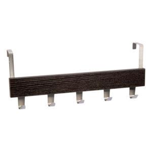 Cuier pentru usa cu 5 agatatori, 38x8.5 cm Metal/MDF Wenge