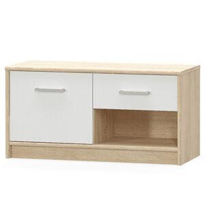 Comoda cu un sertar si o usa, 83x34x42 cm PAL alb/stejar sonoma