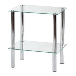 Etajera cu 2 polite, 39x39x47 cm Metal/Sticla