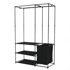 Organizator multifuncţional pentru haine, negru 114x48x178 cm